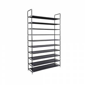 Overstock 10 Tiers Non-woven Fabric Shoe Rack Storage Organizer (Black)