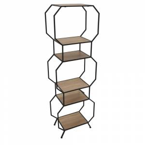 Three Hands 6 Tier Bookcase, Bookshelf Plant Stand in Brown Metal, Modern, Geometic 20in L x 10in W x 60in H