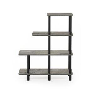Furinno Turn-N-Tube 4-Tier Cube Ladder Shelf (French Oak Grey/Black)