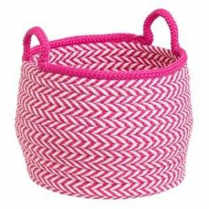 "Colonial Mills Mistique  Indoor Outdoor Polypropylene Soft Braided Basket (12""x12""x12"" - Magenta)"