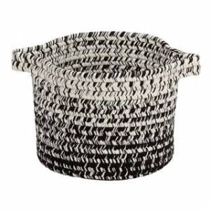 """Colonial Mills Monet Ombre  Indoor Outdoor Polypropylene Soft Braided Basket (12""""x12""""x10"""" - Black & White)"""