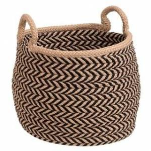 "Colonial Mills Preve Indoor Outdoor Polypropylene Soft Braided Basket (12""x12""x12"" - Taupe & Black)"