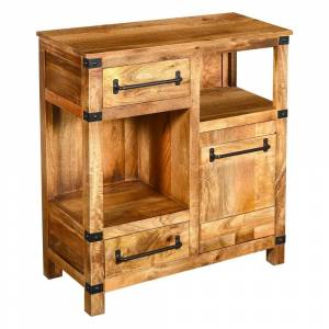 Overstock Wooden Cabinet with 2 Spacious Drawers and 2 Open Shelves, Brown and Black