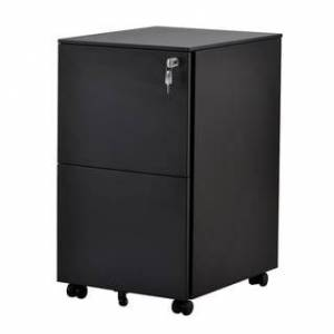 Merax 2-Drawer Metal Mobile Filling Cabinet with Lock, Fully Assembled Except Wheels (Black)