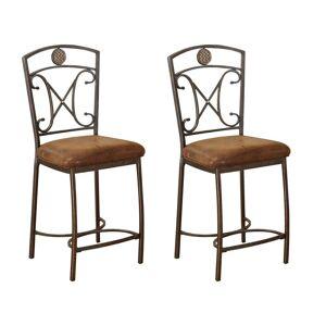 Acme Tavio Saddle Brown Counter Height Chair (Set of 2) (KD Counter)