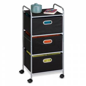 Honey Can Do Honey-Can-Do Fabric Storage Cart (Black 3 Drawer Fabric Storage Cart)