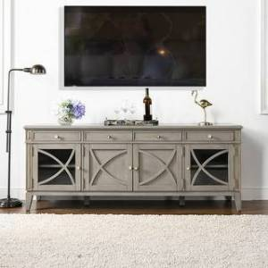 """Taylor Jennifer Taylor Home Dauphin 71"""" TV Stand Storage Display Console Table (Cashmere Gray Wood)"""