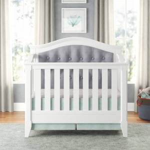 Belle Isle Furniture Magnolia Upholstered 4-in-1 Convertible Crib (Grey)