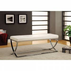 Benzara Modernly Charming Bench, White (Metal - Leather)