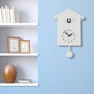 Walplus White Minimalist Cuckoo Clock White Window 4 Changeable Birds (White)