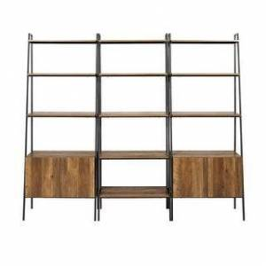 Rio Carbon Loft Lahuri 3-Piece Ladder Shelf Storage Wall (Reclaimed Barnwood)