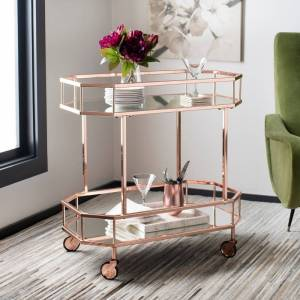 "Safavieh Silva 2 Tier Octagon Bar Cart-Rose Gold / Mirror - 29.6"" x 16.5"" x 29.8"" - 29.6"" x 16.5"" x 29.8"""