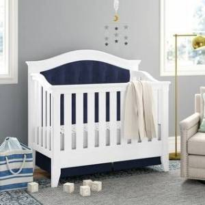 Belle Isle Furniture Magnolia Upholstered 4-in-1 Convertible Crib (White/Blue)