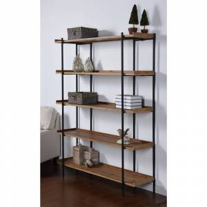 Overstock Bryan Keith 5-Shelf Metal and Natural Wood Bookcase (Brown)