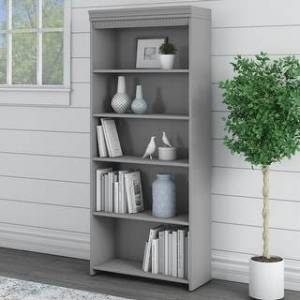 "Copper Grove Khashuri 5-shelf Bookcase - 29.57""L x 12.09""W x 68.94""H - 29.57""L x 12.09""W x 68.94""H (Grey)"