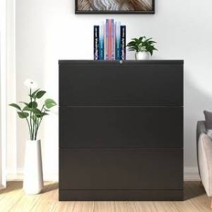Overstock Home Office 3 Drawer Lateral File Cabinet/Anti-tilt Structure (Black) (Locking - 3 Drawers - Lateral - Steel - Black - Assembly Required - Modern &