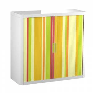 """Paperflow USA Paperflow EasyOffice Storage Cabinet, 41"""" Tall with Two Shelves - Yellow Green and Red Vertical Stripe (Yellow Green and Red Vertical Stripe - Modern"""