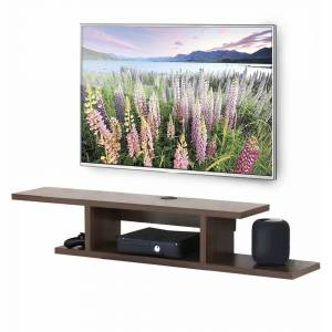 FITUEYES Floating Wall Mounted TV Console Storage Shelf Modern TV Stand Media Console, Walnut DS211802WW - 55 inches (55 inches - Brown)