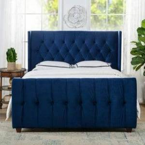 Taylor Jennifer Taylor David Tufted Wingback Upholstered Bed (Navy Blue - Velvet - Queen)