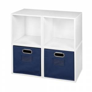 Regency Noble Connect Storage Set - 4 Cubes and 2 Canvas Bins- White Wood Grain/Blue (White Wood Grain/Blue - Modern & Contemporary - Yes - Wood Finish -