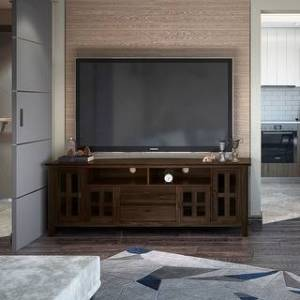 WYNDENHALL Stratford SOLID WOOD 72 inch Wide Contemporary TV Media Stand For TVs up to 80 inches (Tobacco Brown)