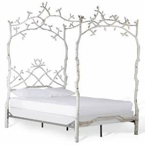 Corsican White Iron Mature Trees Queen Bed Frame (43620 mature trees 453 birch queen bed)