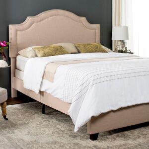 Safavieh Theron Light Beige Linen Upholstered Bed (Queen) (FOX6211B-Q)