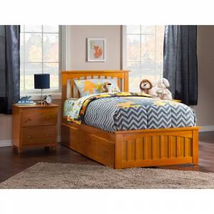 Atlantic Furniture Mission Twin XL Platform Bed with Matching Foot Board with 2 Urban Bed Drawers in Caramel (Twin XL - Brown)