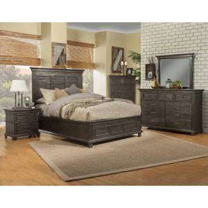 Alpine Furniture Newberry Panel Bed, Grey (King - King)