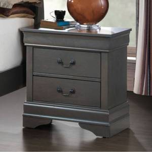 Benzara Louis Philippe III Contemporary Style Night Stand,Gray (Wood - Modern & Contemporary - 2-drawer - Brushed - Grey - Assembled - Storage Area - Wood -