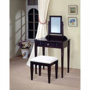 Benzara Contemporary 2 Piece Vanity Set With Stool with Fabric Seat, Brown