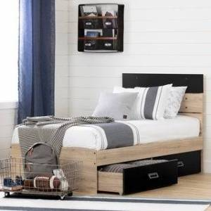 South Shore Induzy Bed Set with 2 Drawers Size - Twin (Rustic Oak and Matte Black)