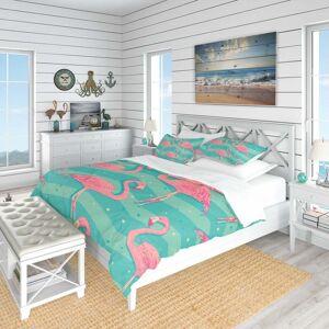 DESIGN ART Designart 'Pink Flamingo Birds' Tropical Bedding Set - Duvet Cover & Shams (King Cover + 2 king Shams (comforter not included))