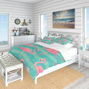 DESIGN ART Designart 'Pink Flamingo Birds' Tropical Bedding Set - Duvet Cover & Shams (Full/Queen Cover +2 Shams (comforter not included))