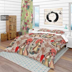 DESIGN ART Designart 'Japanese & Chinese Culture Pattern' Oriental Bedding Set - Duvet Cover & Shams (Full/Queen Cover +2 Shams (comforter not included))
