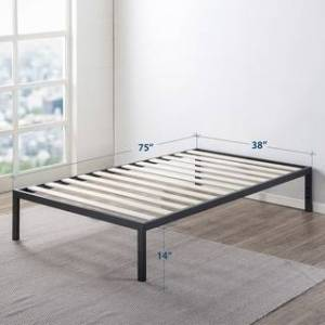 Crown 14 Inch Heavy Duty Metal Platform Bed/Wooden Slat Support/Mattress Foundation (No Box Spring Needed, Black) - Crown Comfort (Twin)