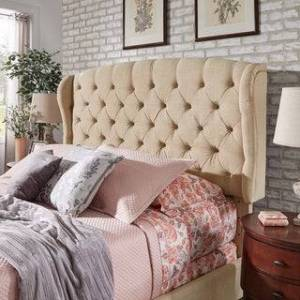 Copper Grove Kalynivka Adjustable Tufted Wingback Bed (Beige - Queen)
