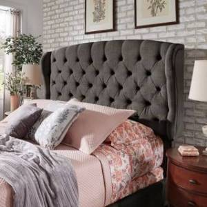 Copper Grove Kalynivka Adjustable Tufted Wingback Bed (Charcoal - Queen)