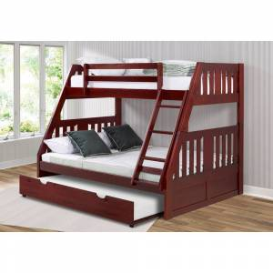 Overstock Twin over Full Mission Bunk Bed in Merlot with Twin Trundle (Twin over Full with Twin Trundle)