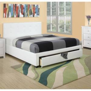Poundex Queen Bed With Drawer Bed (White)