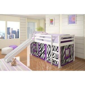 Donco Kids Twin-size Tent Loft Bed with Slide (Twin Loft - White Zebra Tent)