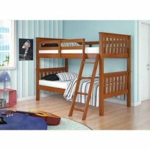 Donco Kids Mission Tilt Ladder Twin Bunk Bed (Includes Hardware - Brown - Espresso Finish - Bunk Bed - Twin over Twin - Assembly Required - Boys -