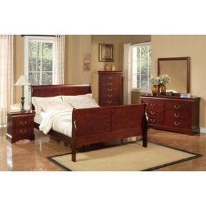 Alpine Louis Philippe II 5-piece Bedroom Set - Cherry (Queen)