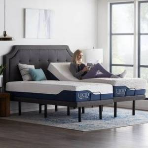 Lucid Comfort Collection 12-inch Gel and Aloe Vera Hybrid Mattress and Deluxe Adjustable Bed Set (Split King)