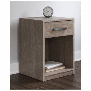 Signature Design by Ashley Flannia Warm Gray One Drawer Nightstand (Warm Grey - 1-drawer)