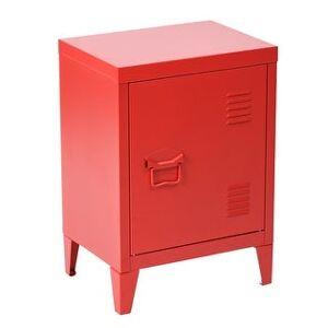 Porch & Den Maudsley Metal Storage Cabinet Nightstand (Red)