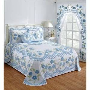 Better Trends Bloomfield Collection in Floral Design 100% Cotton Tufted Chenille (Blue - Twin)