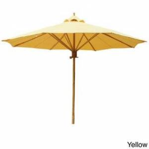Overstock 7 Foot Bamboo Umbrella With Polyester Canvas (Yellow)
