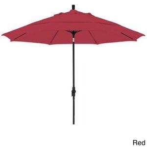 California Umbrella 11' Rd. Alum/Fiberglass Rib Market Umb,Crank Lift/Collar Tilt, Dbl Wind Vent, Black Finish, Olefin Fabric (Red)