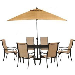 Hanover BRIGDN7PC-GLS-SU Brigantine Tan Aluminum 7-piece Outdoor Dining Set with Glass Top Table and 9-foot Umbrella (Tan)